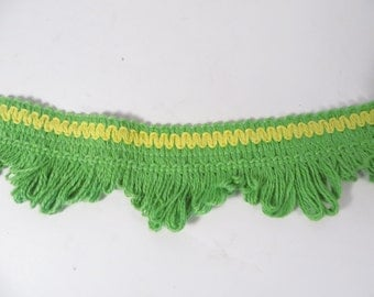 Vintage 1970's Chartreuse Green and Yellow Fringe Trim - 10 Yards Sewing Curtain Fringe Trim