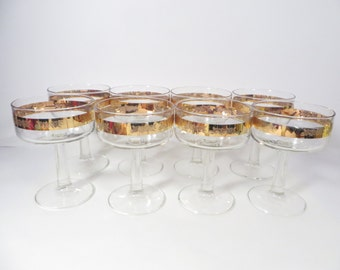 Mid Century Gold Band Champagne Glasses Sherbets - Set of 8 Vintage Champagne Coupe Saucer