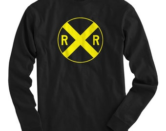 LS Railroad Crossing Tee - Long Sleeve Train T-shirt - Men and Kids - S M L XL 2x 3x 4x - Railway Shirt, Travel - 4 Colors