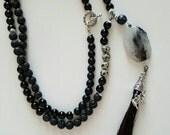 HORSEHAIR Necklace, Quartz Pendant, Black Necklace, Long necklace, Tassel necklace, Rutilated Quartz Pendant, women's jewelry, Bohemian