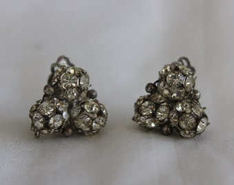Vintage Rhinestone Earring Triangle with Spheres