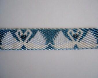 Beaded White swan bracelet