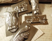 RESERVED / Five Vintage Half Chocolate Molds / Candy Molds / Christmas Display / Collectible / Mini Collection  Squirrel / Owl / Horse