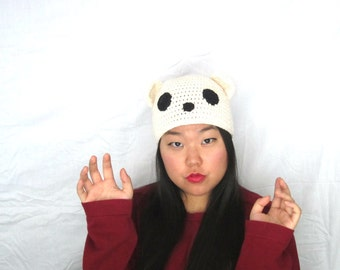 Natural Polar Bear Hat-- Cute Kawaii Winter Natural Polar Bear Hat Beanie Crocheted, Ready to Ship