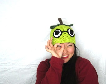 Tarty Smart Green Apple- Cute Kawaii Bright Green Apple Hat Beanie Crocheted Glasses Nerd Dorky, Ready to Ship