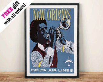 NEW ORLEANS POSTER: Vintage Jazz Advert, Blue Art Print Wall Hanging