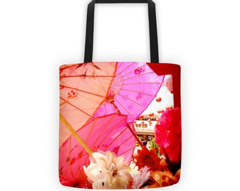 Pink and Peach Parasols Tote for Eco Shopping and School and Sundry
