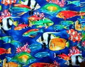 Robert Kaufman Coral Reefs Tropical Fish Cotton Fabric Fabric Material Fish Tank Quilting Fat Quarters Thow Pillow Tiki Party Tabel Cover