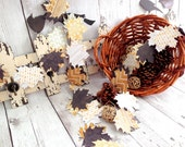 Fall Paper Leaves Garland  Autumn Leaf Brown Patterns Fall Decoration Thanksgiving  Wedding Party Decor Handmade Die Cut