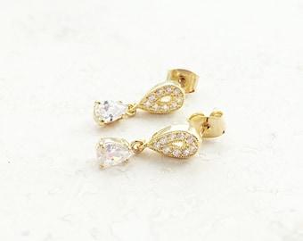 Gold Teardrop Earrings - Stud Earrings - Dressy Earrings - Cubic Zirconia Earrings - Fancy Earrings - Wedding Jewelry