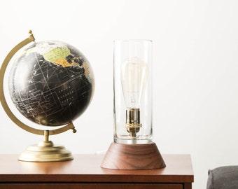 Signature Lantern Pedestal Lamp Small, Walnut- Solid Walnut, Table Lamp, Edison Bulb Lamp, Modern Lighting, Glass Shade