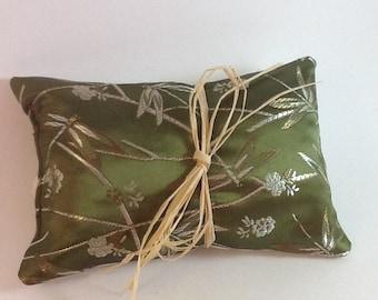 Elegant Herbal Hops Pillow - Garden green Brocade with Dragonfly design, Dragonfly pillow,  Hops Pillow