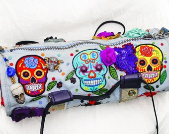 Round Duffel Bag Day of the dead Nike Purse Sugar Skull Red Heart Roses Leather small bag colorful  Halloween  Gothic style  Creepy bag
