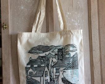 Cornish Village tote bag