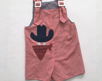 Vintage 70s Reversible Baby Jumper - Cowboy Bandit - Red White and Blue - Gingham
