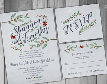 Wedding Invitation Winter Wedding Christmas Wedding Printable Wedding Printed Invitations Rustic Wedding Rustic Invitation RSVP Card