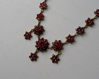 Victorian Garnet Necklace.  Antique Bohemian Garnet Stars Flowers.