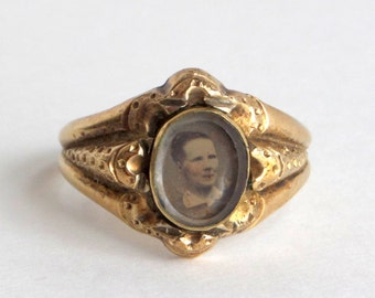Rare Victorian Locket Ring. Mourning. Hand Tinted Tintype.