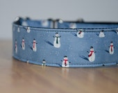 """Oakley, large, 1.5"""" wide martingale (greyhound) collar, extra strong, snowmen"""