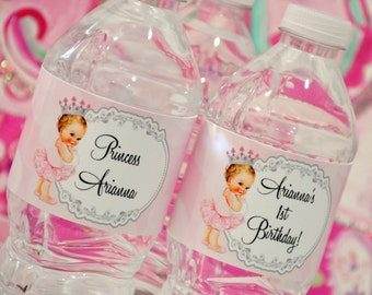 First Birthday Water Bottle Labels,  Princess Water Labels, Birthday Water Labels, Printable, GLAMOROUS SWEET EVENTS