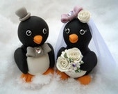 """Penguin wedding cake topper - love birds with banner for names and date, 3.3"""" tall"""