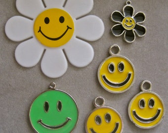 Smiley Face Pendant Earrings Charms Jewelry Happy Face Daisies LOT OF 6 Metal Enamel Lime  Yellow Huge White Plastic Daisy 70s Collectible