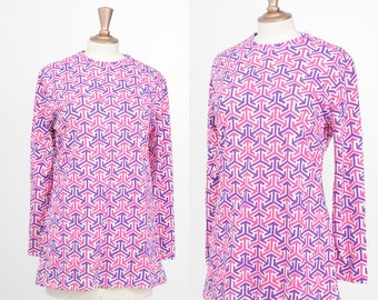 Vintage 1970s / Aileen Poly Geometric Tunic  / Size Large