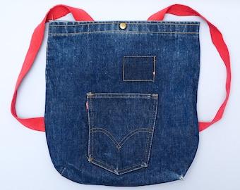 Vintage Levis Big E Backpack Dark Indigo Denim Tote Daypack Backpack