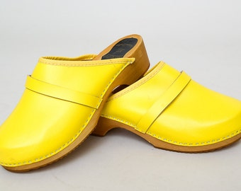 Vintage Yellow Clogs Bright Leather Wood Bottom Clogs, 43 EUR 12.5 US / 10.5 Mens