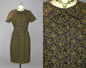 50s Day Dress Carolina Maid Black & Gold Cotton Paisley Floral Print Dress