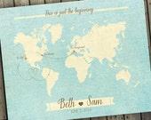 Antique World Map, Wedding Guest Book Alternative Map, Custom Map Gift, Custom World Map, Old World Map