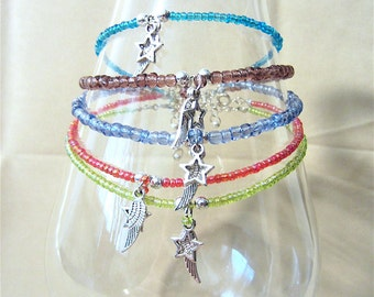 Handcrafted Silver Star & Angel Wing Charms on Glass Beaded Anklet, Handmade Original Fashion Jewelry,Hippie New Age Summer Beach Pool Gift
