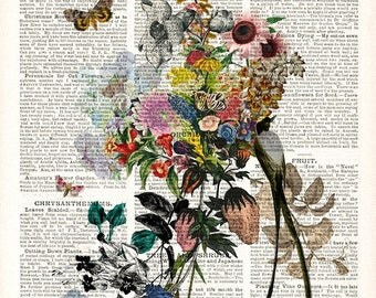 floral vintage book page print - LARGE archival print 13 x 19 inches