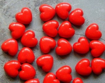 10mm Red Acrylic Heart Beads, 25 PC (INDOC17)