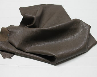 Italian thick Lambskin leather skin vegetable tanned GRAINY ARMY BROWN 5sqf #A1030