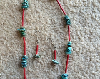 Turquoise and Coral necklace set