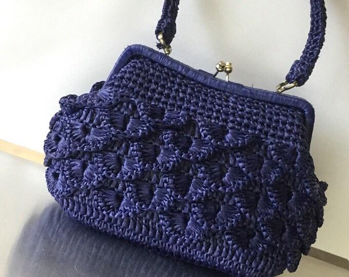 Vintage Navy Blue Woven Handbag, Made in Japan Exclusively for Jordan Marsh. 1960s navy handbag.