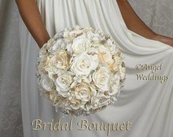 ANGELINA CREAM GOLD Wedding Bridal Groom Wedding Bouquets Bouquet Silk Flowers Arrangement Custom Corsage Boutonniere Bridesmaids Keepsake