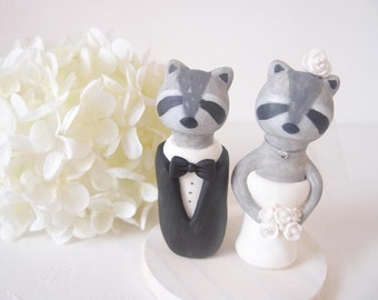 Custom Love Wedding Cake Toppers - Raccoon with base