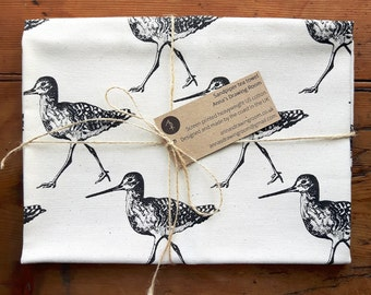 Sandpiper Tea Towel, Bird pattern Dish Towel, black screen print on 100% cotton. Made in the UK. Bird tea towel. Monochrome tea towel