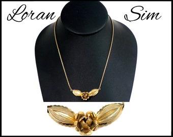 Loran Sim Genuine Gold Choker, 3 Dimensional Rose on Snake Chain, Bridal Choker, 3D Gold Rose, Gift for Girlfriend, Gift For Her
