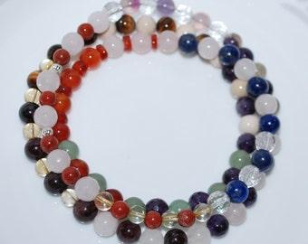 Multi Healing Crystal Necklace, Multi Gemstone Necklace, Semi Precious Gemstone Necklace, Men Necklace, Unisex Necklace