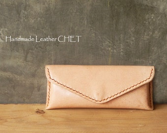 Leather glasses case / natural color / Free initial stamping