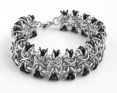 Glass chainmail bracelet, gray, black and silver jewelry, chainmail jewelry