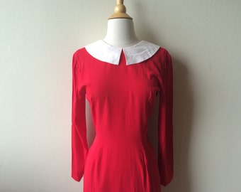 Vintage Red and White Collar Dress