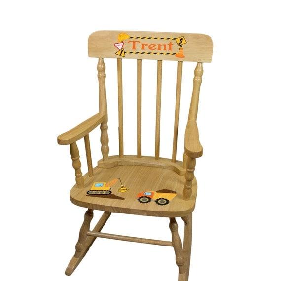 Personalized Childs Wood Rocking Chair Boys Kids by MyBambino