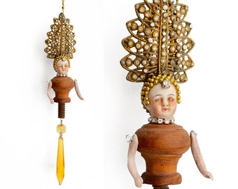 mixed media assemblage, art doll, Grand Dutchess No 78, altered doll head ornament, amber dutchess, by Elizabeth Rosen