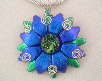 Dichroic Glass Flower/Sunburst Pendant