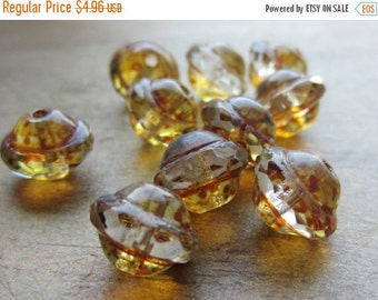 ON SALE Czech Glass Saturn Bead 8mm x 10mm Transparent Crystal Picasso Finish QTY 10