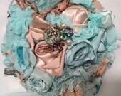 Fabric flower bridal wedding bouquet shabby chic rustic chic elegant
